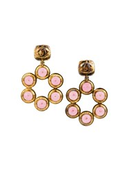 Chanel Vintage 'Gripoix' Glass Clip On Earrings Metallic