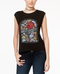 Beauty And The Beast Juniors' Rose Glass High Low Graphic T Shirt Black