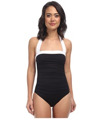 Lauren Ralph Lauren Bel Aire Shirred Bandeau Mio Slimming Fit One Piece Black Women's Swimsuits One Piece