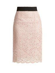 Dolce And Gabbana Cordonetto Lace Pencil Skirt Light Pink