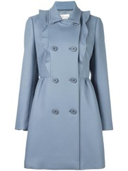 Red Valentino Ruffle Detail Coat Women Cotton Polyester Acetate 42 Blue