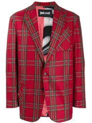 Just Cavalli Tartan Print Blazer Red
