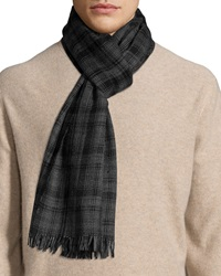 John Varvatos Plaid Print Wool Scarf Mercury