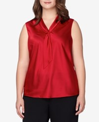 Tahari By Arthur S. Levine Asl Plus Size Satin Tie Neck Shell Red