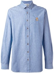 Moschino Chambray Bear Applique Shirt Blue