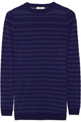 Nina Ricci Striped Wool And Silk Blend Sweater Navy
