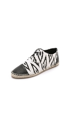 Cynthia Vincent Fatima Lace Up Haircalf Espadrilles Black White