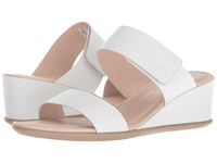 Ecco Shape 35 Wedge 2 Strap Bright White Calf Leather Wedge Shoes