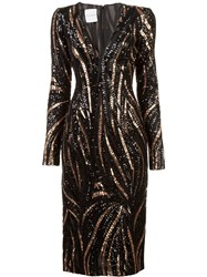 Halpern Sequinned Midi Dress Brown