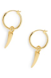 Missoma Mini Dagger Charm Hoop Earrings Gold