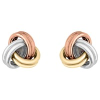 Ibb 9Ct 3 Colour Gold Knot Stud Earrings Yellow Gold Multi