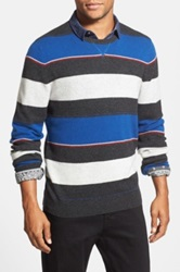 1901 Stripe Merino Wool And Cashmere Crewneck Sweater Blue
