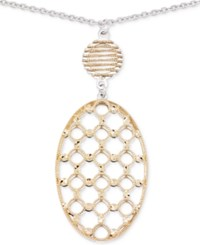 Sis By Simone I Smith Openwork Oval Pendant Necklace In 14K Gold And Sterling Silver Two Tone