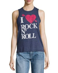 Chaser I Heart Rock N Roll Tank Blue