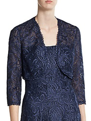 Kay Unger Lace Cropped Bolero Jacket Navy