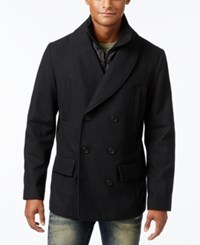 American Rag Men's Bib Shawl Collar Peacoat Only At Macy's Deep Black