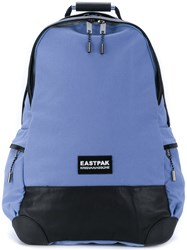 Eastpak Top Zip Backpack Leather Polyester Blue