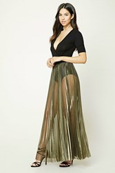 Forever 21 Metallic Pleated Maxi Skirt Black Gold