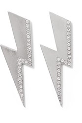 Isabel Marant Flash Silver Tone Crystal Earrings One Size