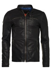 Superdry Real Hero Leather Biker Jacket Black Geo