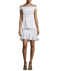 Peter Pilotto Off The Shoulder Smocked Pinstripe Dress White Black White Black