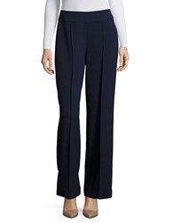 Tahari By Arthur S. Levine Solid Wide Legged Pants Navy