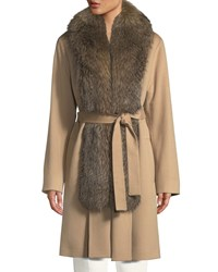 Fleurette Wool Clutch Coat W Fox Fur Tuxedo Brown