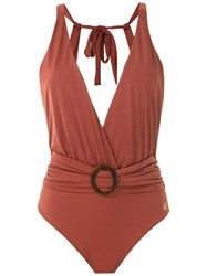 Brigitte Draped Swimsuit Brown