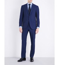 Corneliani Slim Fit Check Print Wool Suit Mid Blue