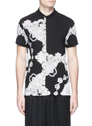 Mcq By Alexander Mcqueen 'Phoenix Paisley' Print Patchwork Polo Shirt Black