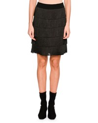Stella Mccartney Tiered Fringe Mini Skirt Black