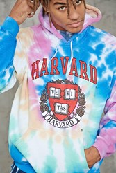 Forever 21 Tie Dye Harvard Graphic Hoodie Red Black
