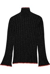 Ellery Editore Metallic Ribbed Knit Turtleneck Sweater Black