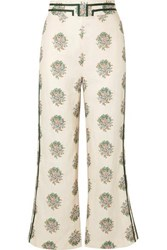 Zimmermann Verity Cropped Grosgrain Trimmed Floral Print Linen Flared Pants Cream