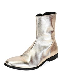 Alexander Mcqueen Dream Metallic Leather Ankle Boots Gold