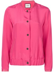 Max And Moi Button Bomber Jacket Pink And Purple