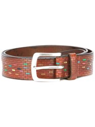 Orciani Lizard Skin Effect Belt Brown
