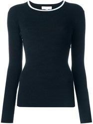 Michael Michael Kors Ribbed Fine Knit Sweater Blue
