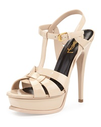 Saint Laurent Tribute Patent Platform Sandal Nude Brown