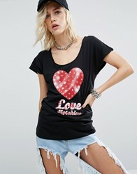 Love Moschino T Shirt With Graphic Logo Black