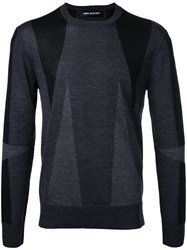 Neil Barrett Geometric Intarsia Jumper Grey