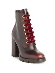 Prada Lug Sole Leather Lace Up Booties Cordovan Black
