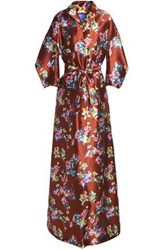 Delpozo Flared Floral Print Silk Twill Gown Brown