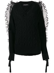 Frankie Morello Ruffled Trim Cable Knit Jumper 60