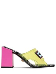 Versace 70Mm Plexi Sandals Yellow Fuschia