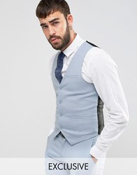 Only And Sons Skinny Wedding Suit Vest Blue