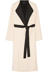 The Row Augustus Two Tone Wool And Silk Blend Wrap Coat Ecru