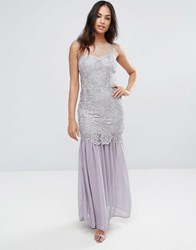 Ax Paris Grey Crochet Chiffon Maxi Dress