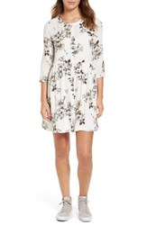 Hinge Women's Print Swing Dress White Gentle Floral