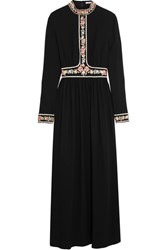 Vilshenko Embroidered Crepe Maxi Dress Black